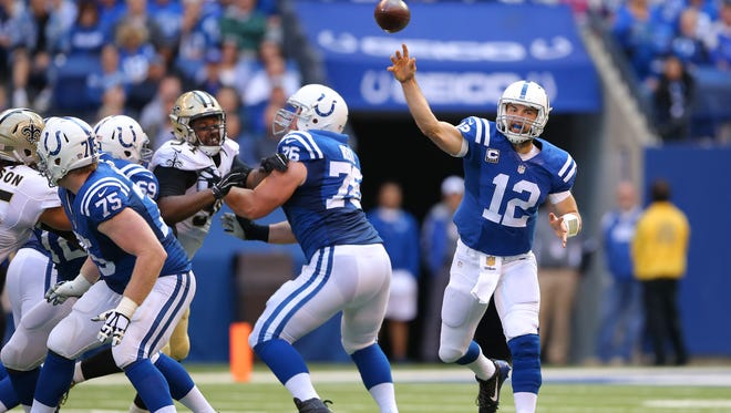 Indianapolis Colts quarterback Andrew Luck (12) throws for an incompletion during the second half of an NFL football game Sunday, Oct. 25, 2015, at Lucas Oil Stadium.
