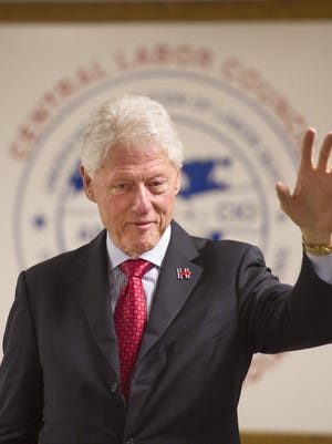 DENNY SIMMONS / COURIER & PRESS Former President Bill Clinton stumps for his wife, Hillary Clinton, in her run for the presidency at the Central Labor Council of Southern Indiana in Evansville Tuesday afternoon.
