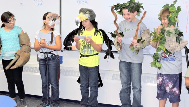 5th graders from Harrison Schmitt Elementary School perform a skit from the Gila Natural History trunk program.