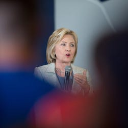 Democratic presidential hopeful and former Secretary of State Hillary Clinton speaks to guests gathered for a campaign event at Iowa State University July 26, 2015 in Ames, Iowa.