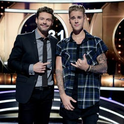 Justin Bieber, right, appeared this week on Ryan Seacrest's 'Knock Knock Live' on Fox.