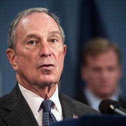 New York City Mayor Michael Bloomberg speaks at a press conference regarding Super Bowl XLVIII, which New York and New Jersey will host at MetLife Stadium on February 2, 2014 in East Rutherford, New Jersey, on October 10, 2013 in New York City.