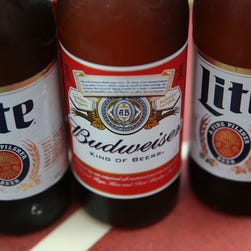 In this photo illustration, bottles of Budweiser and Miller Lite beer are seen on September 16, 2015 in Miami, Florida.