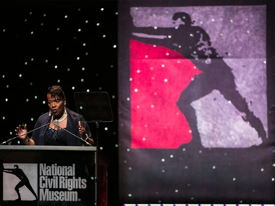 October 19, 2017 - Freedom Award honoree Rev. Bernice King, the youngest of Dr. Martin Luther King Jr. and Coretta Scott King's four children, delivers a speech during the National Civil Rights Museum 26th Freedom Awards at the Orpheum Theatre.