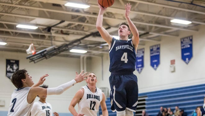 Marysville's Dylan Kiger takes a shot during a basketball game Tuesday, Dec. 13, 2016 at Yale High School.