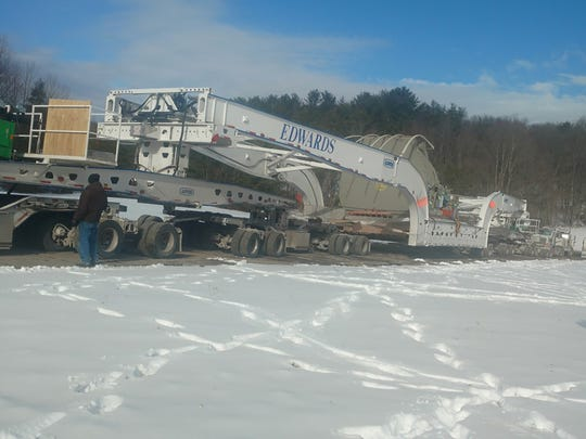 A large steam turbine destined for Scranton, Pennsylvania,