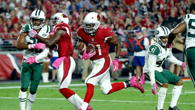 Arizona Cardinals running back David Johnson (31) rushed for 111 yards and three touchdowns on Monday night in a 28-3 win against the N.Y. Jets.
