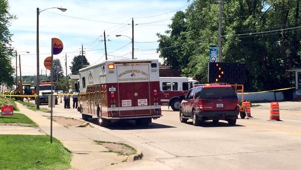Traffic on Southwest 9th Street was blocked after a gas line was struck