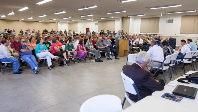 Well over 100 people came out to the Mounds Lake public forum hosted by the Delaware County Council Monday evening at the county fairgrounds.