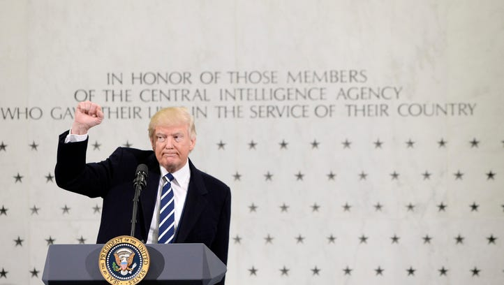 President Trump speaks at the CIA headquarters in Langley,