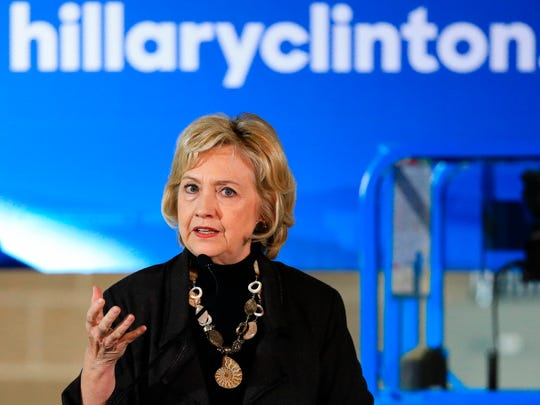 Hillary Clinton speaks during a campaign stop in Sioux