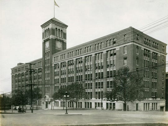 A historic image of the former Baldwin Piano Co. headquarters