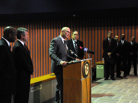 Salinas Police Chief Kelly McMillin adresses the media on Tuesday regarding the release of the Salinas Police Department initial report as part of the Collaborative Reform Initiative for Technical Assistance. At far left are Department of Justice Office of Community Oriented Policing Services Policing Practices and Accountability Initiative Chief Noble Wray and Acting U.S. Attorney for the Northern District of California Brian Stretch.