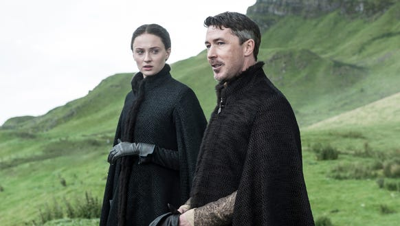 Sophie Turner as Sansa and Aidan Gillen as Littlefinger