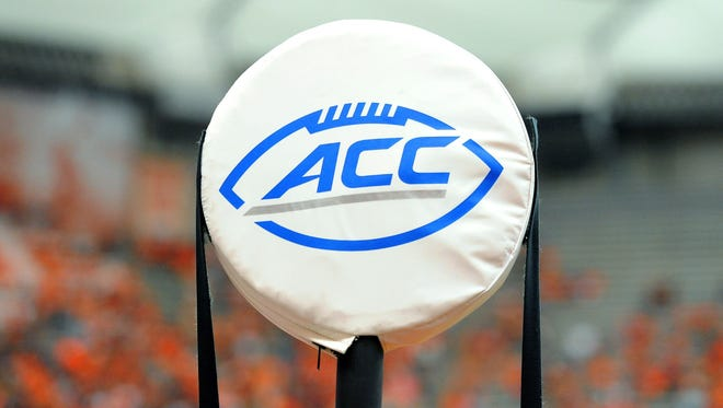 A general view of the Atlantic Coast Conference logo on a yard marker during the game between the Central Michigan and Syracuse.