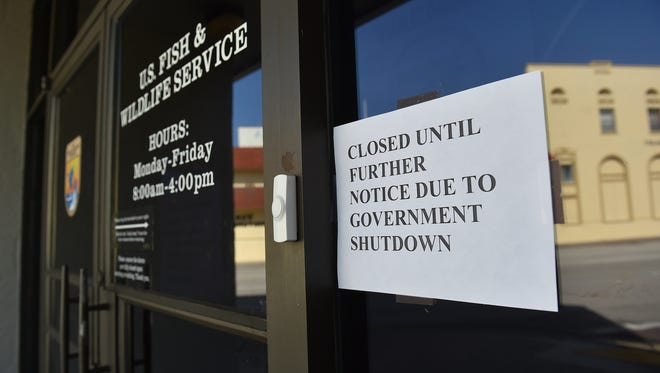 The U.S. Fish & Wildlife Service office, 1339 20th Street in Vero Beach, as seen on Monday, Jan. 22, 2018, is closed due to the government shutdown.