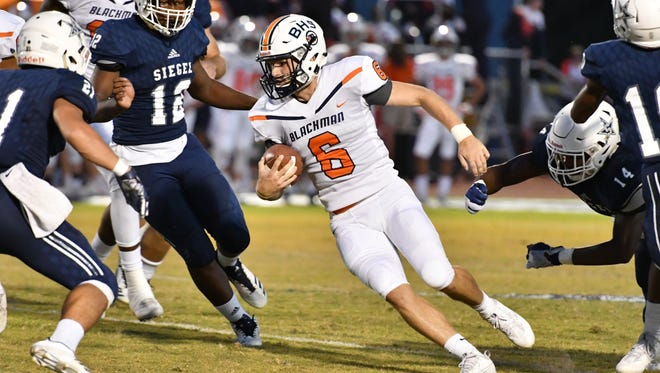 Blackman quarterback Connor Mitchell has passed for 670 yards and rushed for almost 300 yards thus far this season.