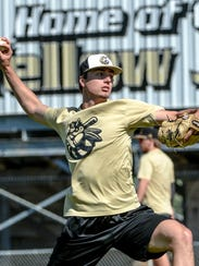T.L. Hanna senior Jackson Lindley (25) throws during