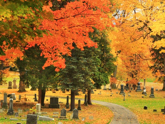 Autumn leaves over Spring Forest Cemetery in Binghamton.