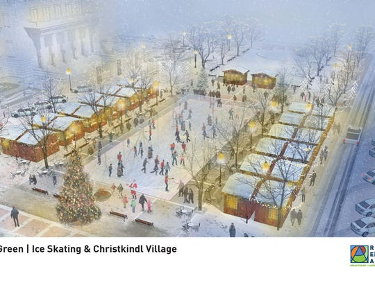 Rendering of Carmel's ChristkindlMarkt and ice rink.