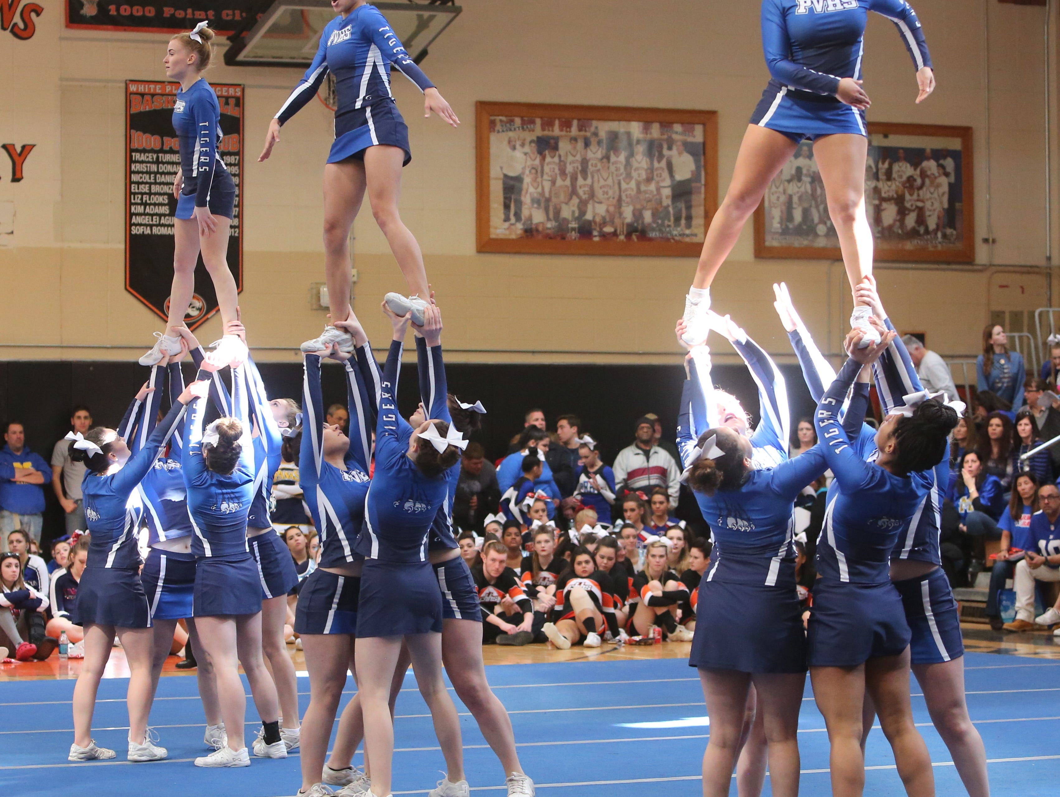 Putnam Valley High School cheerleaders perform during the Section One Cheerleading Finals 2016 at White Plains High School, Feb. 27, 2016.