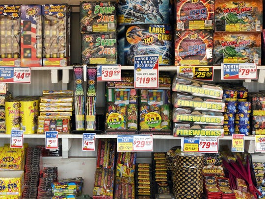 Fireworks are shown on the shelf at TNT Fireworks near