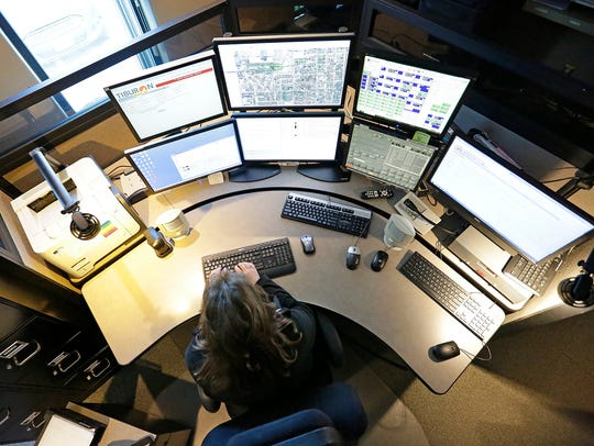 Fond du Lac 911 Center dispatcher Gina Meilahn works