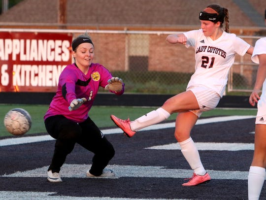 Wichita Falls High School's Ashland Hansen kicks the