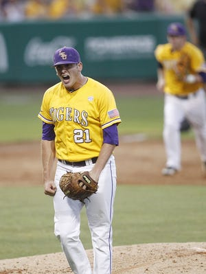 LSU pitcher Joe Broussard (21) reacts to a strikeout during the 2012 Baton Rouge Super Regional.