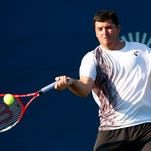 NEW HAVEN, CT:  Jesse Witten plays Matija Pecotic in the US Open Playoffs during the 2015 Connecticut Open at the Yale University Tennis Center on Monday, August 24, 2015 in New Haven, Connecticut. (Photo by Jared Wickerham/Connecticut Open)
