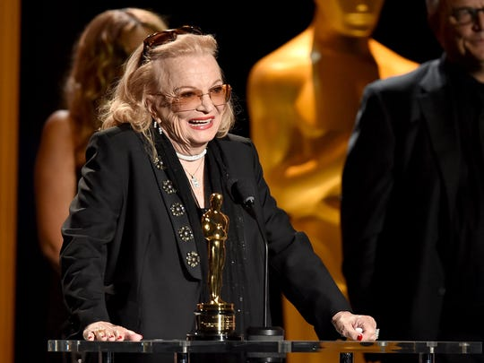 Actress Gena Rowlands pays tribute to her late husband, writer/director John Cassavetes, as she accepts her honorary Oscar at the Governors Awards on Nov. 14, 2015.
