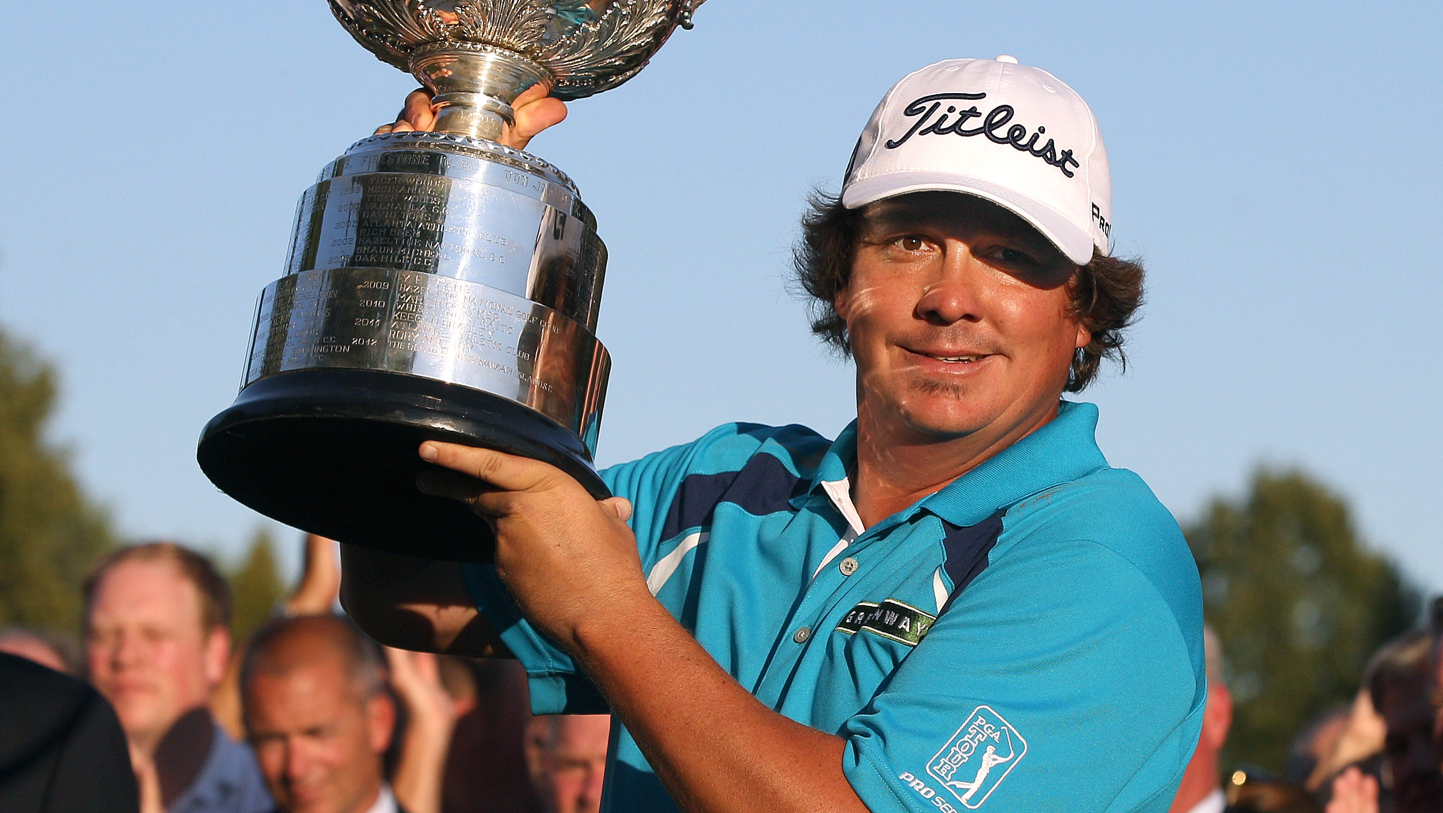 Jason Dufner raises the Wanamaker trophy after winning the 2013 PGA Championship beating Jim Furyk.