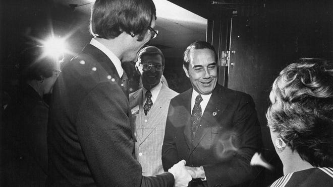 Sen. Bob Dole, R-Kan., won reelection to his second term in office in November 1974. This photo showed him greeting well-wishers the following year at a reception held in his honor in the lower lounge of the Downtown Ramada Inn.