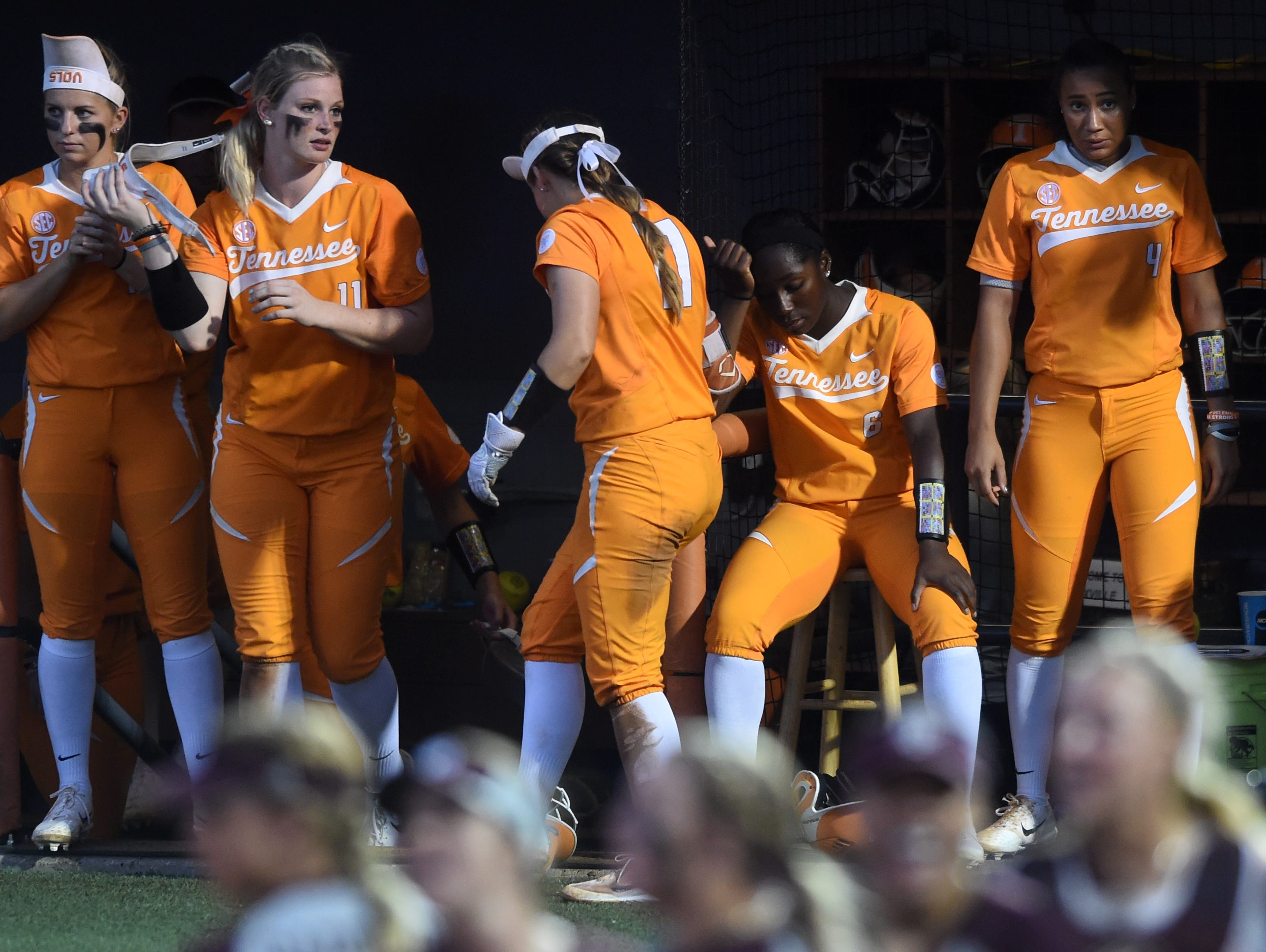 Tennessee reacts to Texas A&M's win after an NCAA Super Regional game between Tennessee and Texas A&M at Sherri Parker Lee Stadium on Saturday, May 27, 2017. Texas A&M defeated Tennessee 6-5.