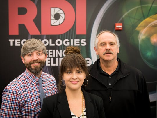 From left, RDI Technologies' owner and founder Jeff Hay, COO Jenna Johns and president Bob Wilson at the company's office in Knoxville on Friday, April 6, 2018.