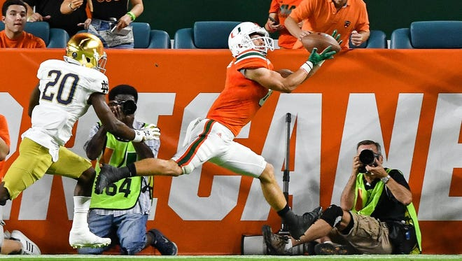 Braxton Berrios has emerged as Miami's top receiverwith 52 catches for 634 yards and nine touchdowns, all team highs.