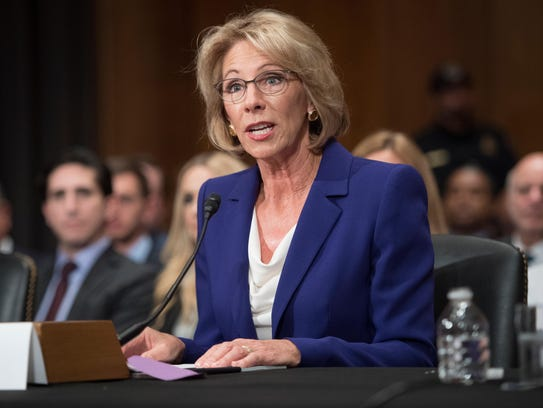 Betsy DeVos speaks during her confirmation hearing