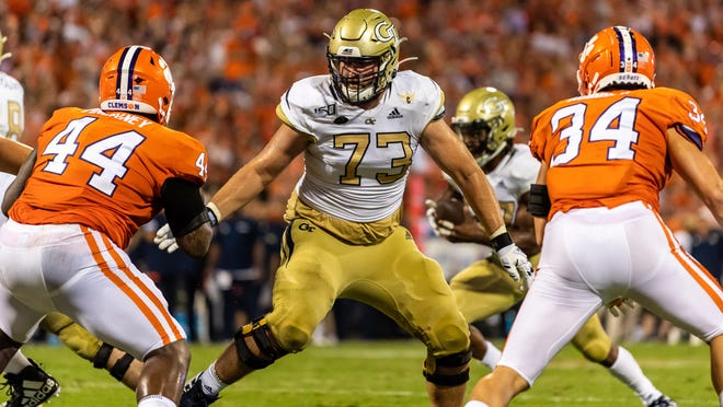 Georgia Tech offensive tackle Zach Quinney (73) of Savannah plays against Clemson on Aug. 29, 2019 in Clemson, S.C.