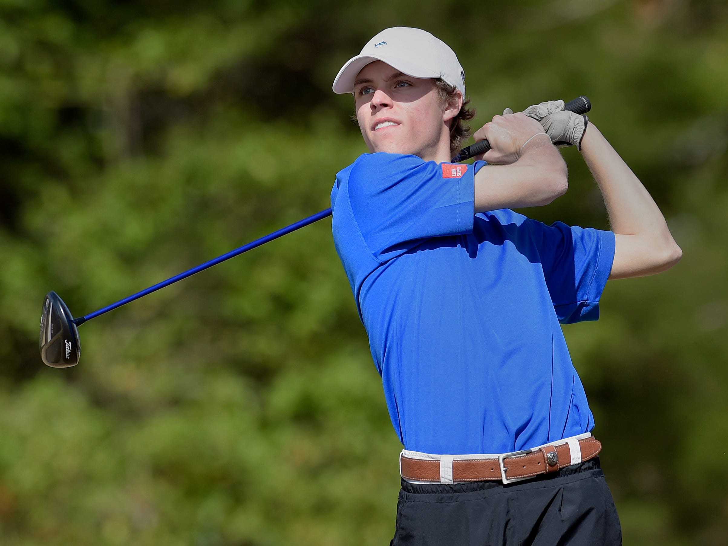 Bennett Gilliard, shown in the 2015 Greenville County tournament, and the Eastside Eagles won the Peach Blossom AAA Region tournament Monday at Links O'Tryon Golf Club.