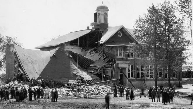 A disgruntled taxpayer, Andrew Kehoe, set off 500 pounds of dynamite he had planted inside the Bath schoolhouse on May 18, 1927.