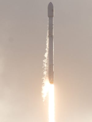 A SpaceX Falcon 9 rocket lifts off from Kennedy Space Center on Monday, May 1, 2017. The rocket carried a mission for the National Reconnaissance Office.