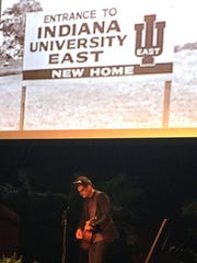 Indiana University East graduate and recording artist Adam Cappa performs in IU East's  new Student Events and Activities Center Friday night during a celebratory dinner.