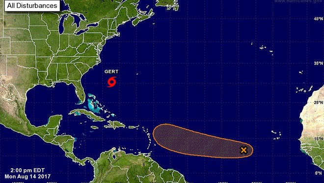 National Hurricane Center outlook on Gert as seen on Monday, Aug. 14, 2017, at 2p.m.