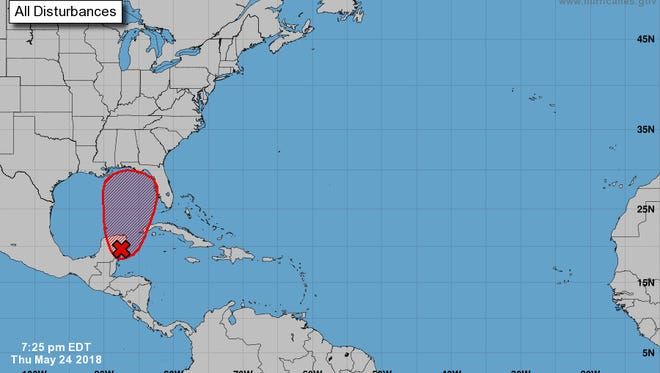 A Thursday evening update from the National Hurricane Center says a subtropical or tropical depression or storm is likely to form during the weekend over the eastern or central Gulf of Mexico.