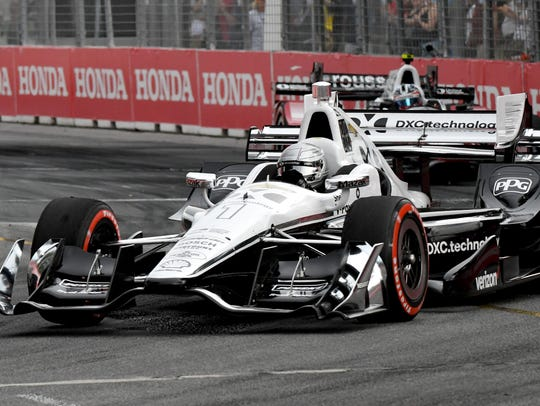 Simon Pagenaud competes in the Honda Indy Toronto at