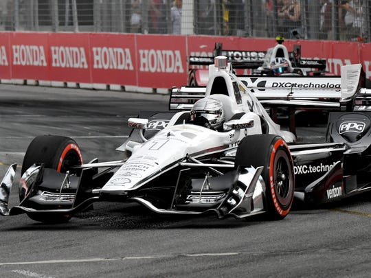Simon Pagenaud competes in the Honda Indy Toronto at Streets of Toronto in July.