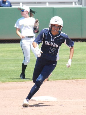 Silver's Kim Renteria rounds second on her way to third base during action Friday in Albuquerque. She was 3-for-3, with a triple and two RBIs in Silver's 10-0 championship win over Hope Christian.