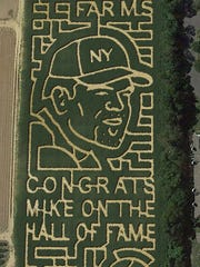 The VonThun Farms 2016 corn maze is a tribute to Mike Piazza's induction to the Baseball Hall of Fame.