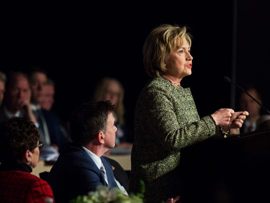Hillary Clinton speaks at a labor gathering in Philadelphia