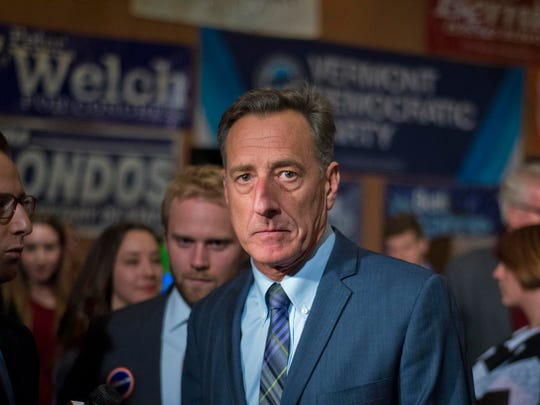 Gov. Peter Shumlin leaves the room after speaking at